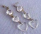 Heart Lucite-Long Dangle Earrings
