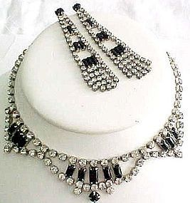 Black and Clear Rhinestone Necklace and Earrings
