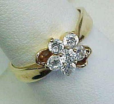 Clear Rhinestone Flower Ring