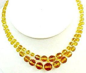 Double Strand of Glass, Graduated Yellow Beads