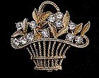 Pretty Clear Rhinestone Basket Brooch