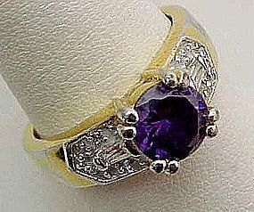 Pretty Simulated Amethyst and Diamond Ring