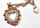 Pink Gold Toned Avon Rhinestone Heart Necklace