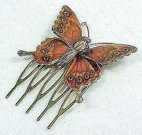 Enameled Butterfly Hair Piece