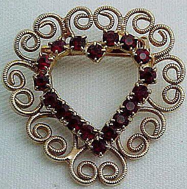 Red Rhinestone and Filigree Heart Pin