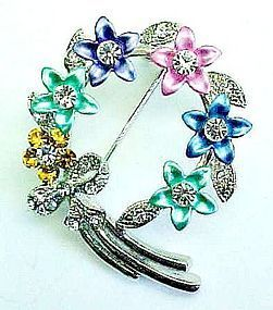Rhinestone and Enameled Spring Colors Circle Brooch