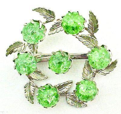 Green Crackle Glass Brooch