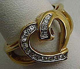 Nice Rhinestone Heart Ring
