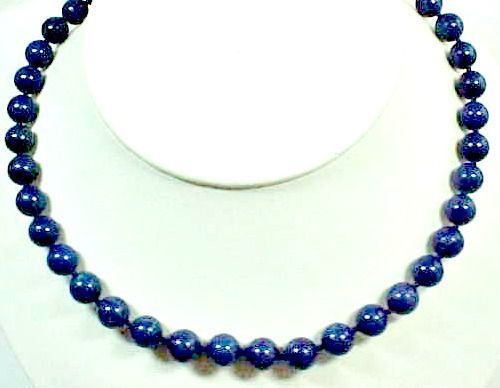 "18"" Strand of Blue Agate Beads"