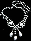 1950s White Glass and Rhinestone Necklace