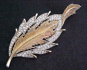 Graceful Rhinestone Leaf Brooch