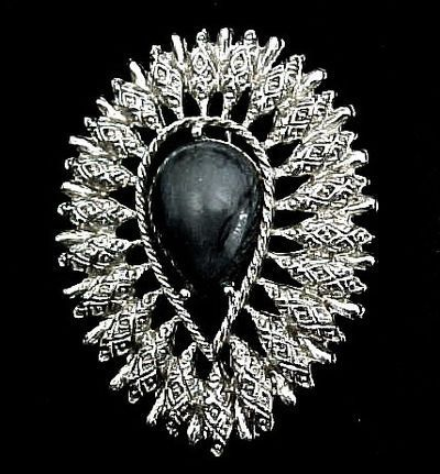 Sarah Coventry Brooch - Silver Colored and Gray