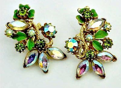 Large Aurora Borealis and Green Earrings - Clips