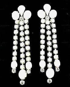 "Super White and RS Weiss Earrings - 3"" Long"