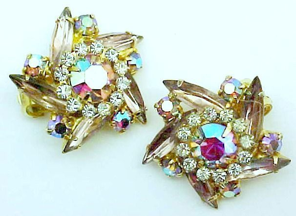 Aurora Borealis Pin Wheel Earrings - Clips