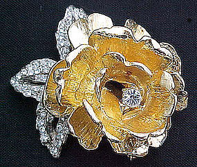Beautiful Two Color and Rhinestone Rose Brooch