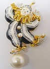 K J Lane Enamel and Rhinestone Clown Pin