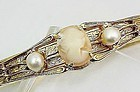 Art Deco Cameo Bangle Bracelet with Faux Pearls