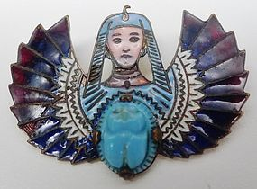 True Art Deco Egyptian Revival Brooch