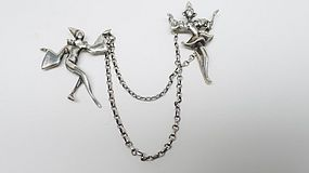 Sterling Silver Chatelaine Brooch - Harlequin Dancers