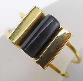 Gold Colored Hinged Bangle with Simulated Jade Center