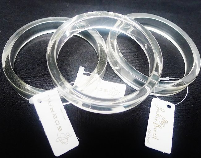 Three Sobral Clear Resin Bangles - Buy 1 or All 3