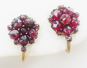 Rare 1930s Napier Sterling Garnet Earrings - Flowers