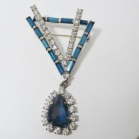 Blue and Clear Rhinestone Irregularly shaped Brooch