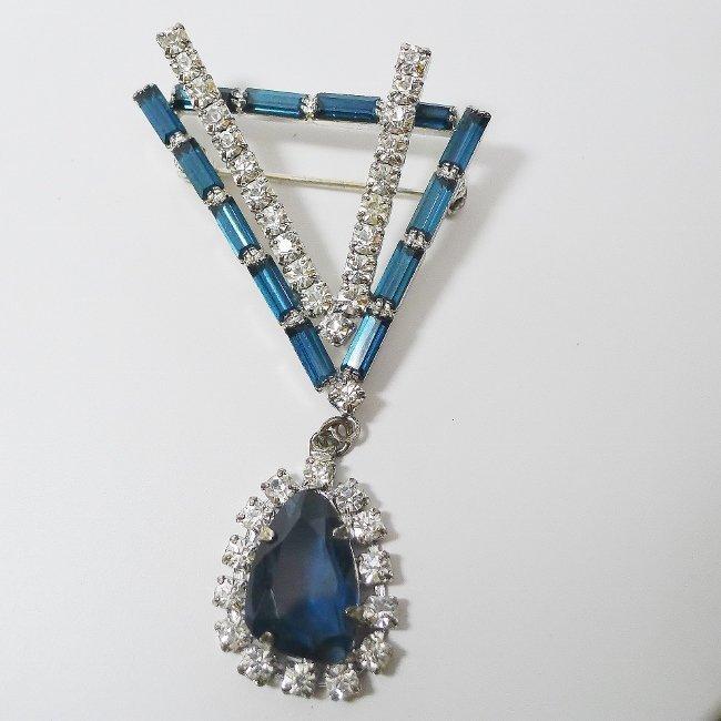 Blue and Clear Rhinestone Irregularly shaped Brooch