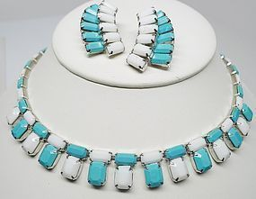 Weiss Aqua and White Plastic Summer Set - CA 1950