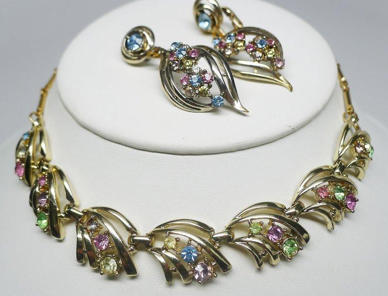 Coro Multicolored Rhinestone Necklace and Earring Set