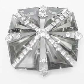 Sparkling Smoked and Clear Rhinestone Brooch