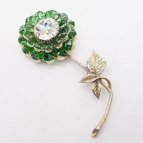 Large Green and Clear Rhinestone Flower Pin