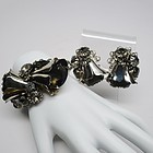 Chrome and Gray Topaz Bell Flower Set