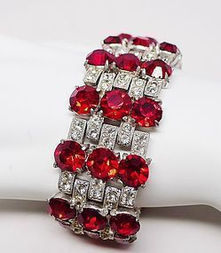 Staret Red and Clear Rhinestone Bracelet - Gorgeous
