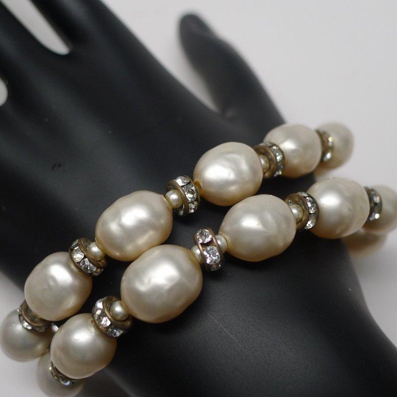 Vendome Double Row Pearl & Rhinestone Bracelet