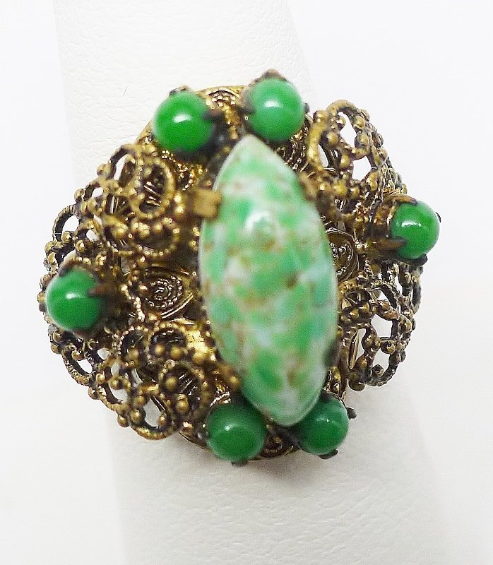 Art Deco Czech Fancy Jadite Ring