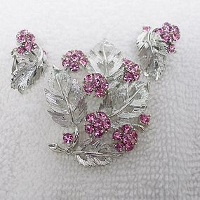 Lisner Pink and Silver Brooach and Earrings