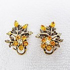 "Coro Sparkling Orange ""Rhinestone Earrings - Halloween"