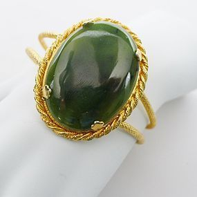 Wide Hinged  Bangle set with Glass Jade Stone