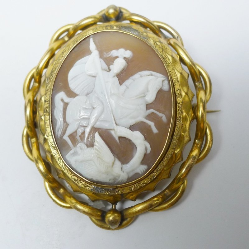 Huge Victorian Swivel Cameo - St. George & the Dragon