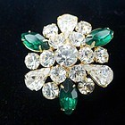 Kelly Green and Clear Sparkling Rhinestone Brooch