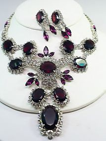 Huge Amethyst and Clear RS Bib and Earrings
