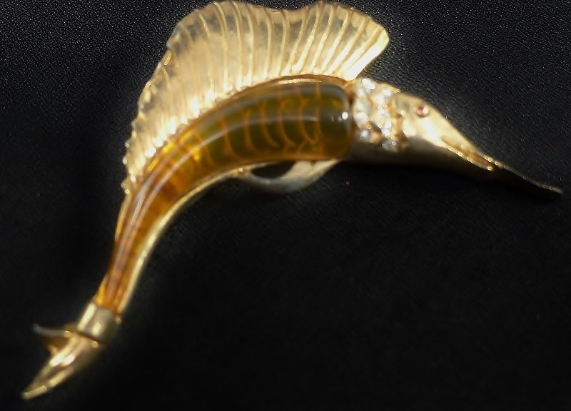 Applejuice Bakelite and Gold Metal Swordfish