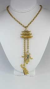 KJL Long Asian Themed Figural Necklace