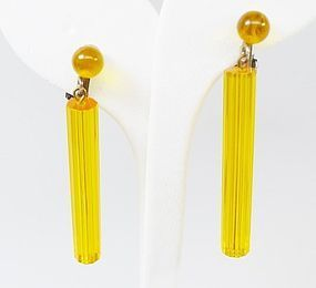 Yellow Lucite Cylindrical Clip Earrings - Different