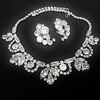 Sparkling Clear Rhinestone Necklace and Earrings