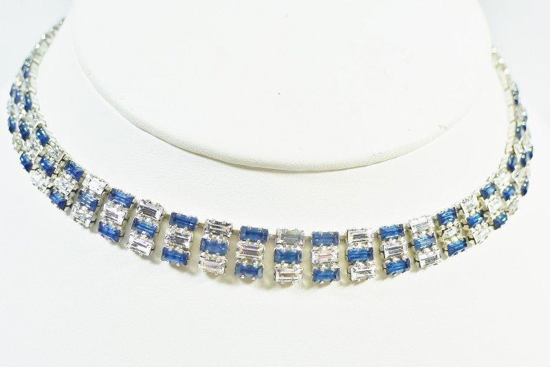 Blue and Clear Rhinestone Necklace with Baguettes
