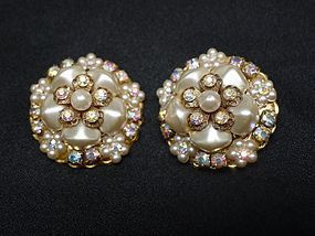 Large Sparkling Clip Earrings, AB Rhinestone and Pearl