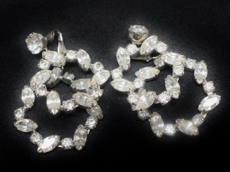 Beautiful Double Hoop Clear Rhinestone Earrings